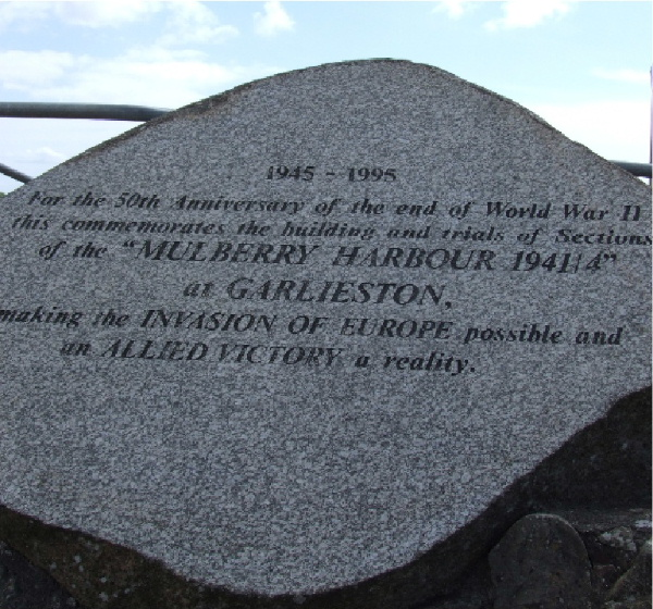 Garlieston Harbour memorial to Mulberry Harbour