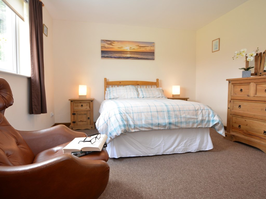 The double bedroom at Cairnsmore Cottage holiday accommodation has an ensuite