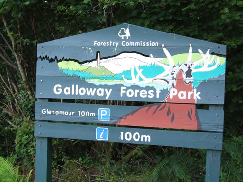 Signpost for the Galloway Forest Park which lies very close to Newton Stewart