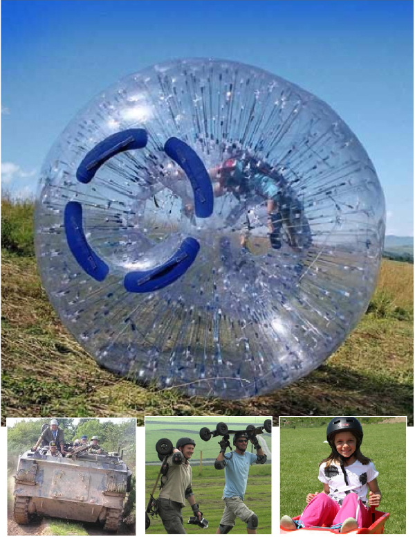 Zorbing and zip wires at Laggan Outdoor with tank driving at Penkiln