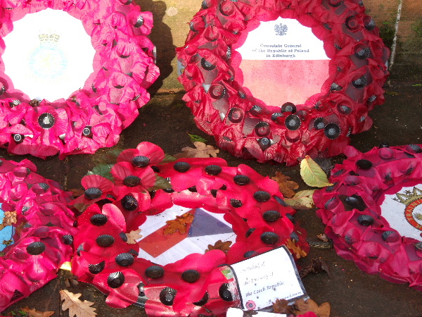 Poppy wreaths at the Dowding Memorial