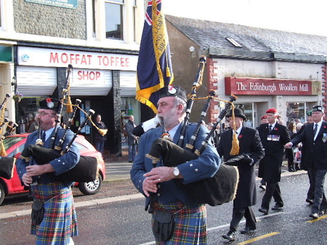 A local pipe band at the Armistice Day Parade in Moffat