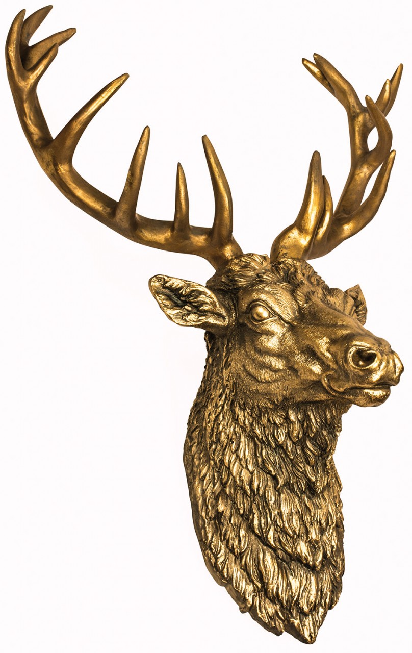 resin gold wall mountable stag head