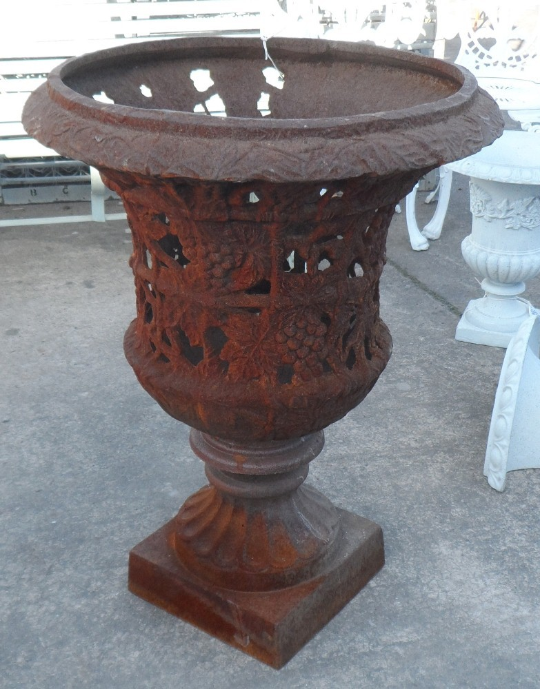 Large Cast Iron Filigree Urn in Rusty finish