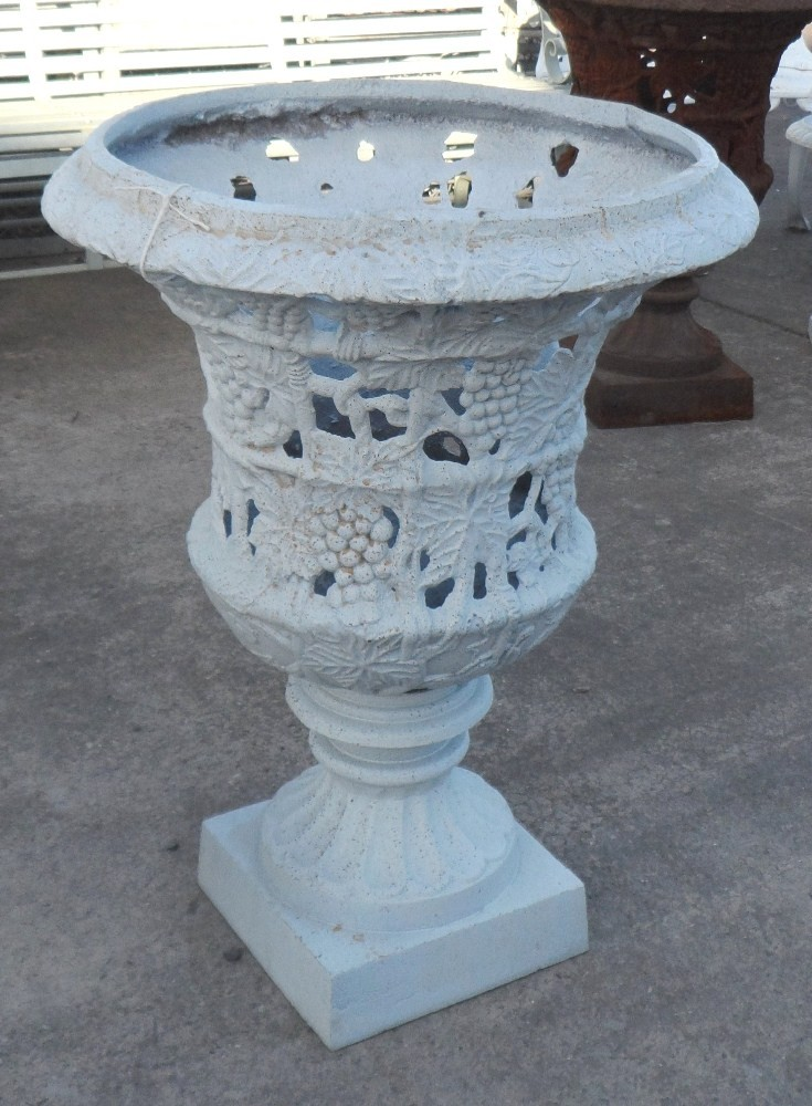 Large Cast Iron Filigree Urn in White finish