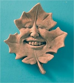 Maple leaf with smiley human face