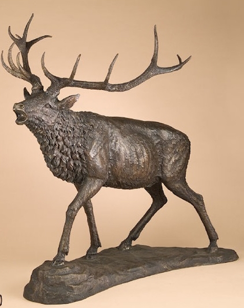 Large Bronze Calling Stag