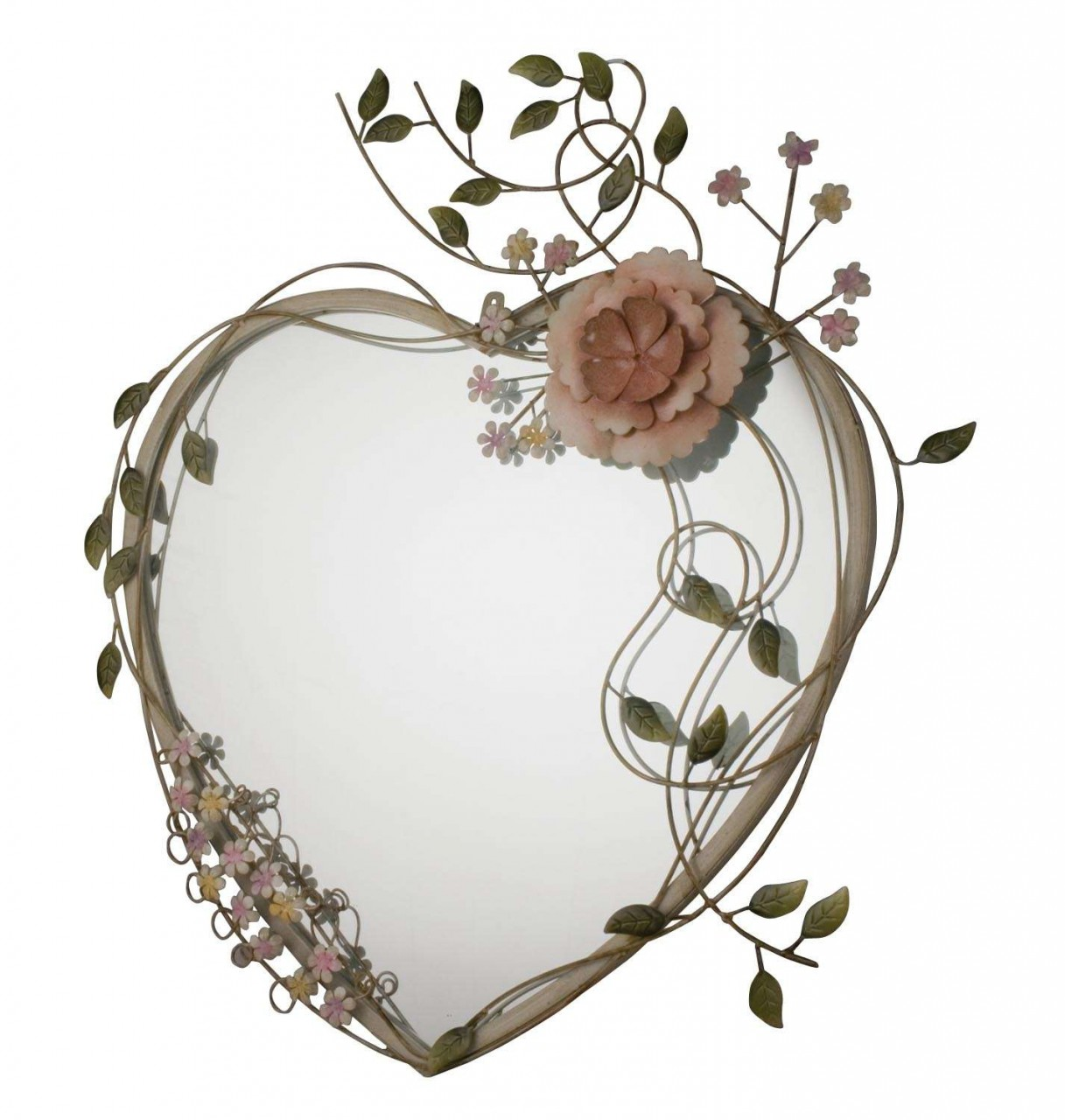 Large heart shaped mirror with metal flower art frame