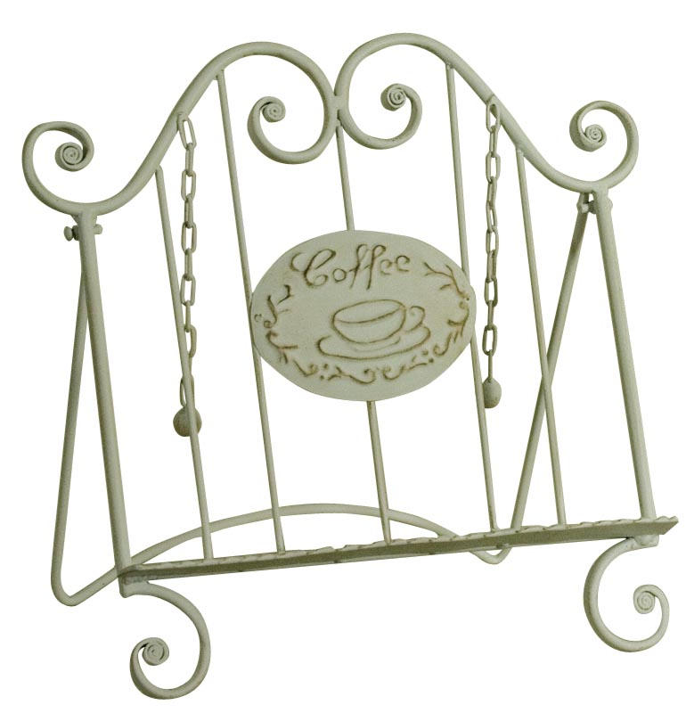 Wrought iron style recipe book holder