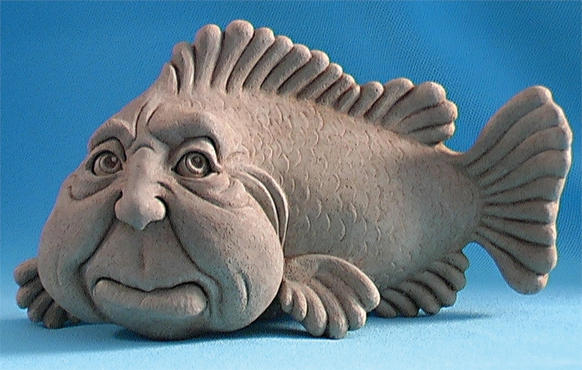 Fish with human male face