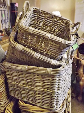 Three stacked square baskets