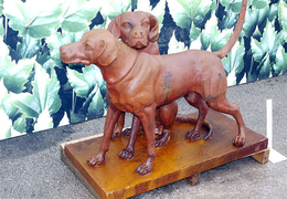 Two Cast Iron Dogs on base