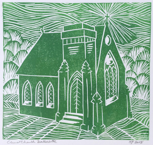 Original Linoprint of Christ Church by Sue Thomas