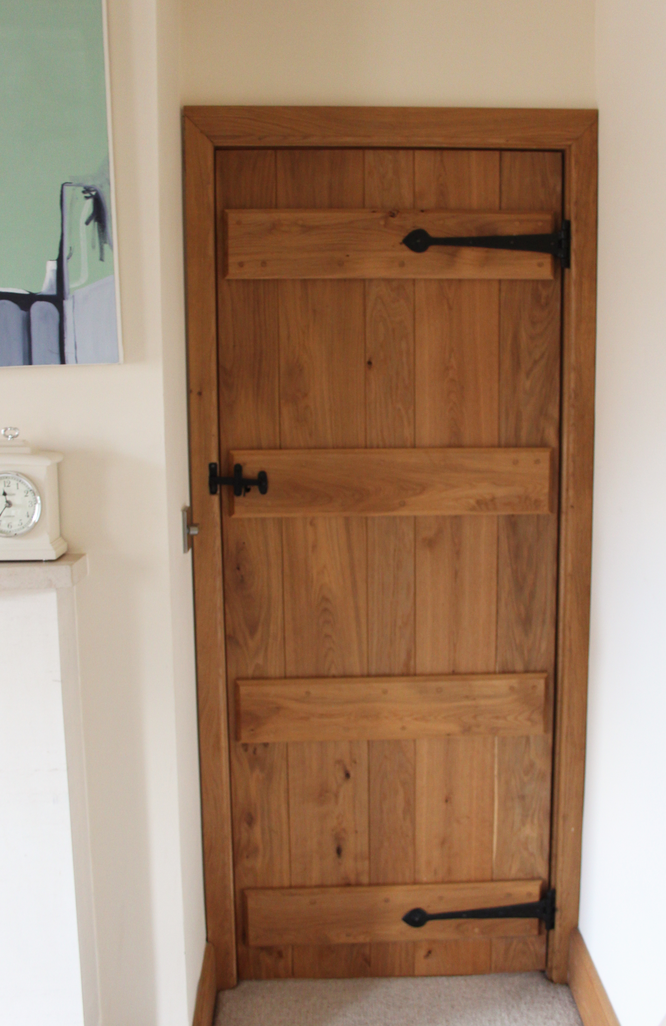 Stunning bespoke solid oak ledge and brace door with traditional latch and hinge stunning feature