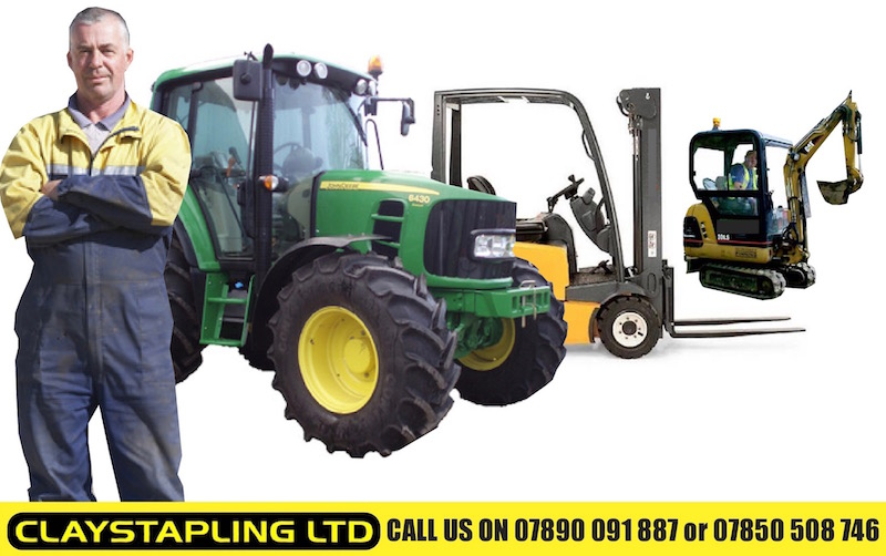 The team at Claystapling Dumfries with various tractors, forklifts and other plant