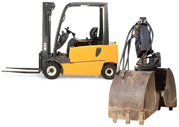 A forklift truck and a grab
