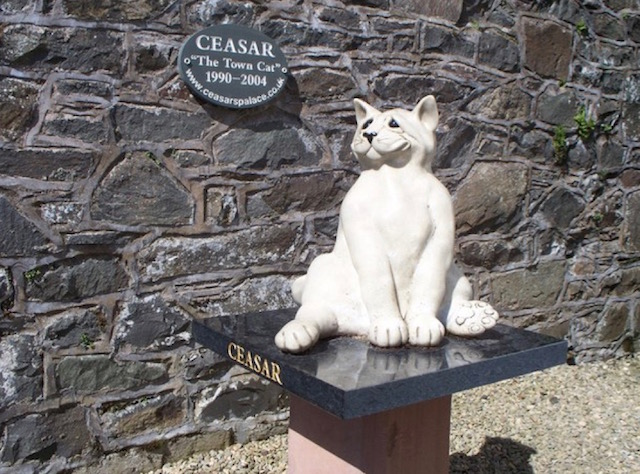A statue to Ceasar, The Kirkcudbright Town Cat from 1990 till 2004