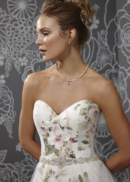 Floral print wedding Gown