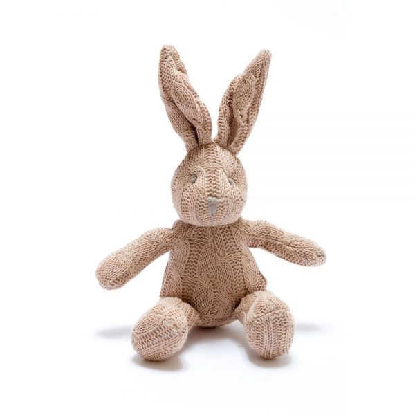 Bunny Rattle in Brown Organic Cotton Cable Knit