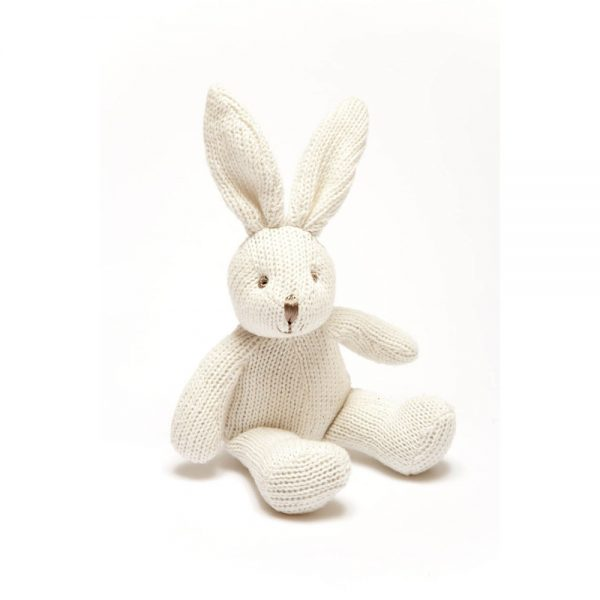 Bunny Rattle in White Organic Cotton