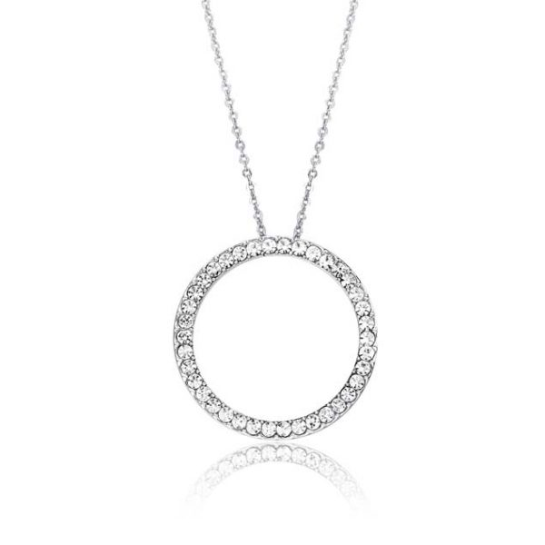 Circle Cystal Pendant Necklace Silver KW031