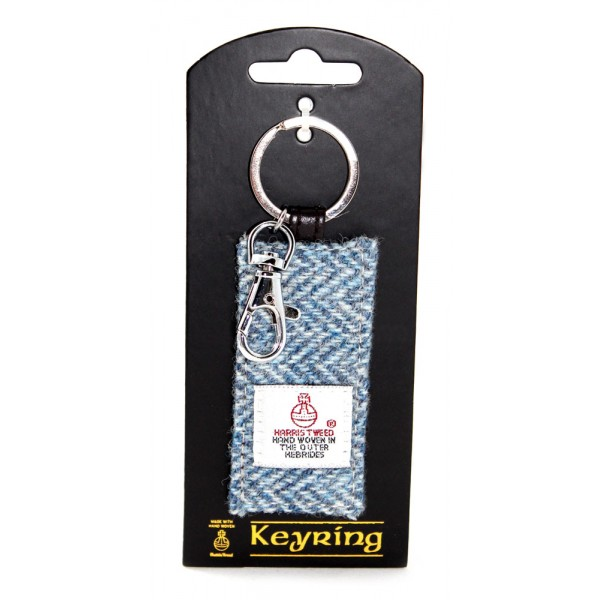 Harris Tweed Key Ring in Blue Herringbone