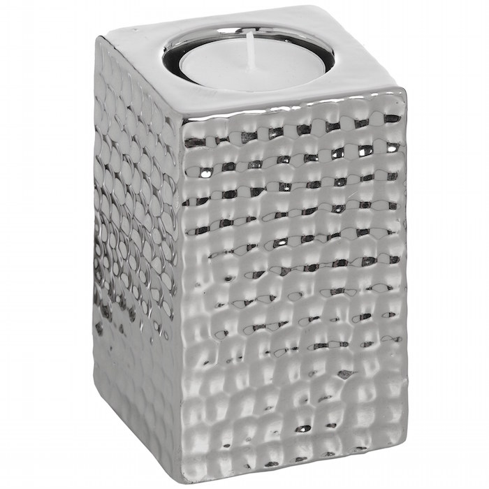 Small Square Silver Dimple Ceramic Tealight Holder HI014
