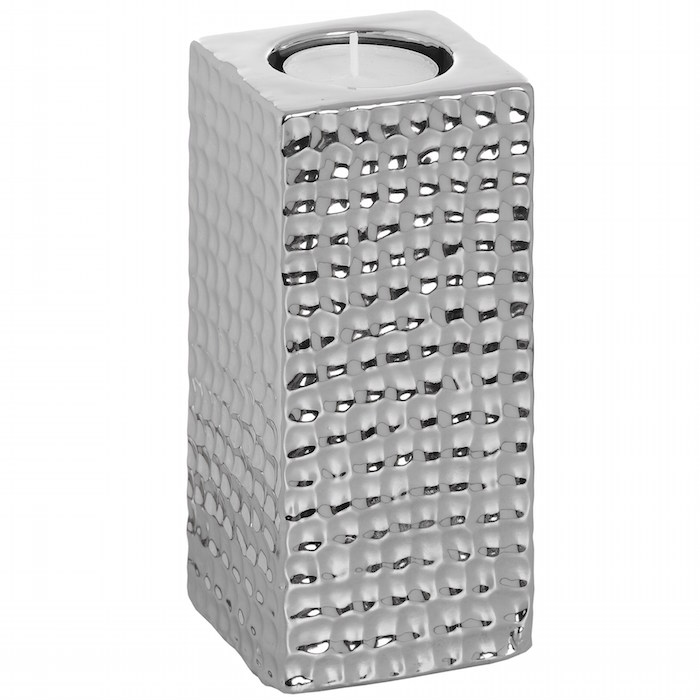 Tall Square Silver Dimple Ceramic Tealight Holder HI015