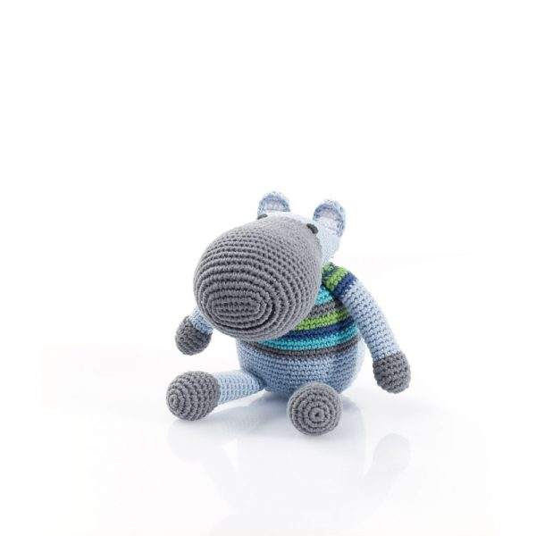 Hippo Rattle Toy in Blue