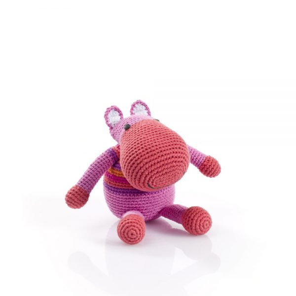 Hippo Rattle Toy in Pink