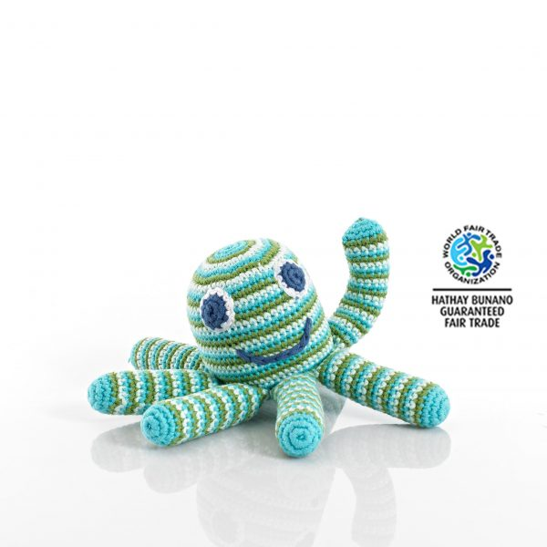 Octopus Baby Toy Rattle Green/Blue