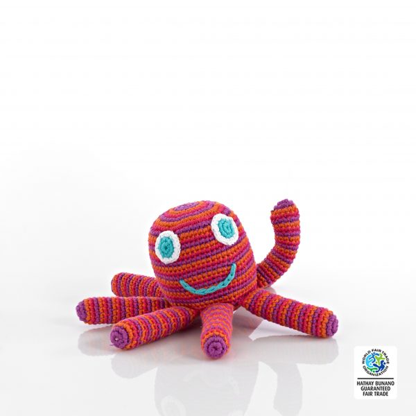 Octopus Baby Toy Rattle Pink/Red