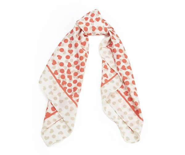 Pink Hearts Square Scarf