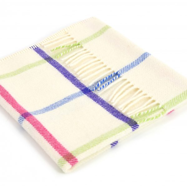Pram Blanket in Bright Check