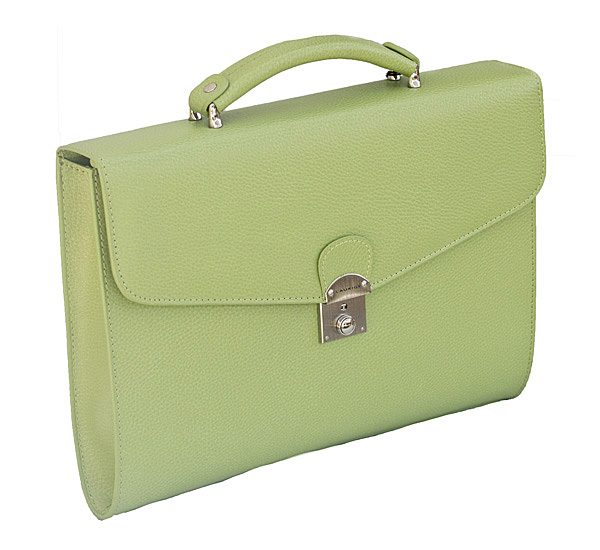 Small Leather Briefcase in Green by Laurige