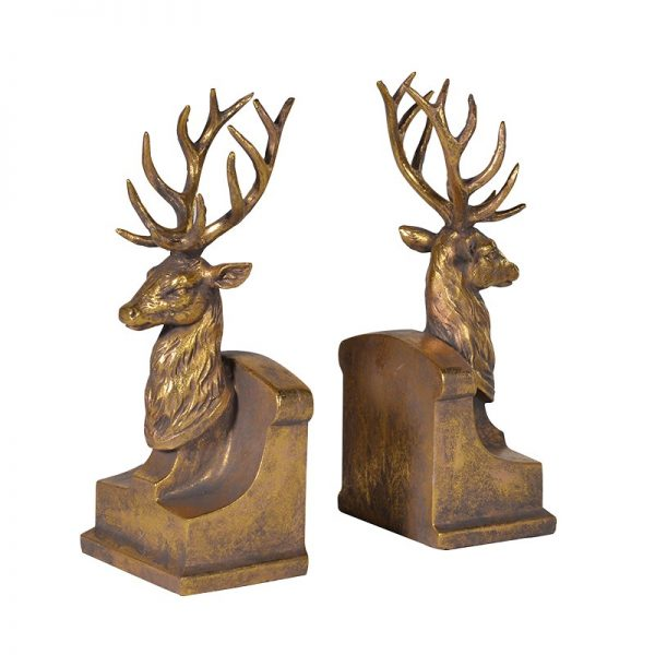 Stag Bookends in Gold