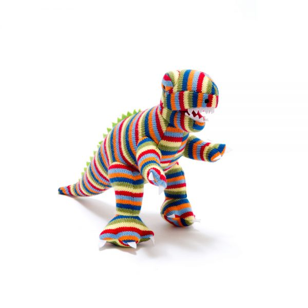 T-Rex Rattle Toy - Multi Stripe