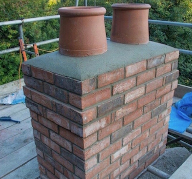 Chimney stack after repairs have been carried out by DC Roofcare Ltd