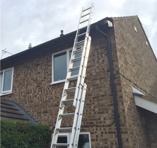 DC Roofcare ladders read for a roofing job in Ayr