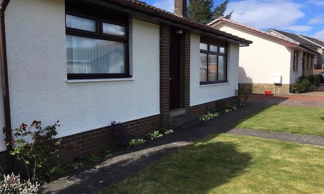 Same Ayrshire bungalow with its new roughcasting to protect it from the weather