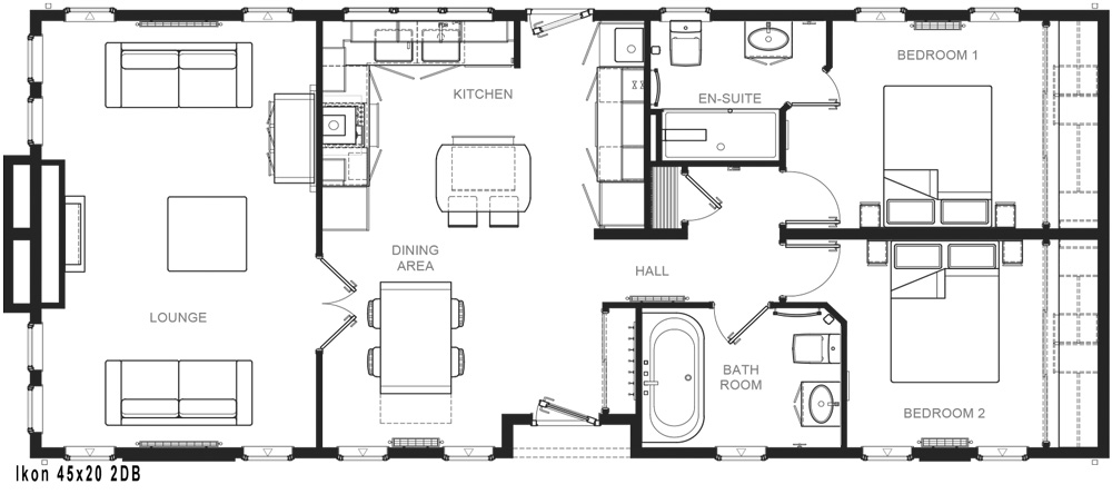 The internal layout of the two bedroom Ikon park home