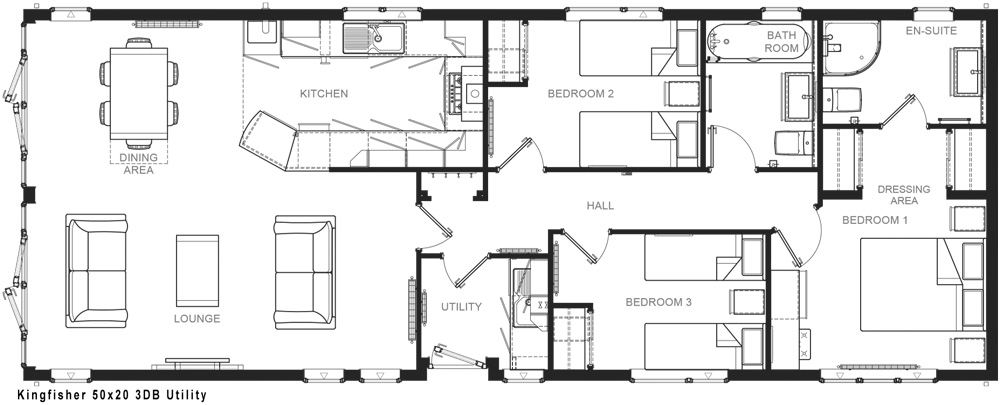 Internal layout of the Kingfisher lodge home with its three bedrooms and furniture included