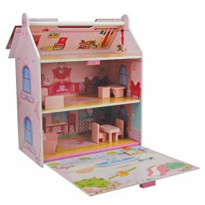 Small Wooden Doll House with 7 Pieces of Furniture