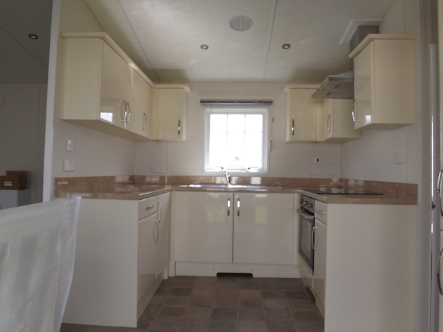 A kitchen at one of our brand new static caravan holiday home sat Penpont Holiday Park, Thornhill, Dumfries and Galloway, Scotland