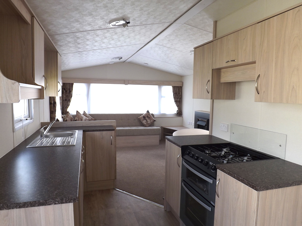 Looking from the kitchen area of one of our static caravans towards the lounge