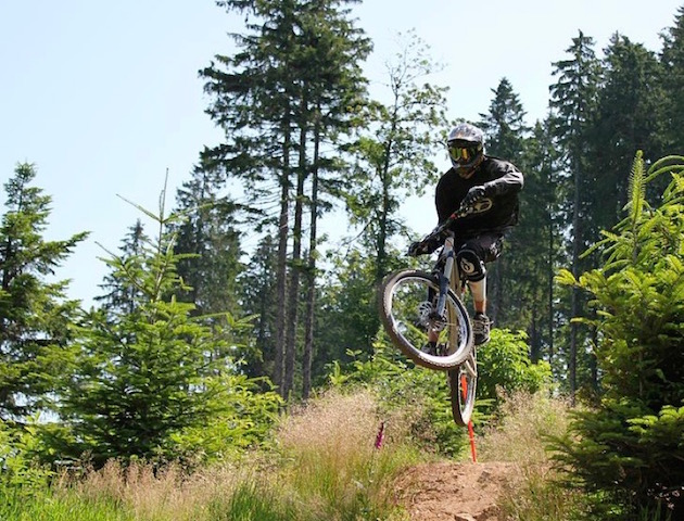 A biker enjoying the 7Stanes mountain biking trails in Dumfries and Galloway