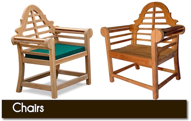 Quality teak garden chairs from Surrey Hills Country Gardens.