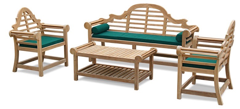 A complete Lutyens garden furniture set with bench, two chairs and coffee table
