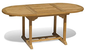 Oval extending teak patio table