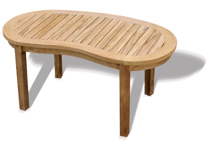 Peanut shaped coffee table in teak for outdoor use